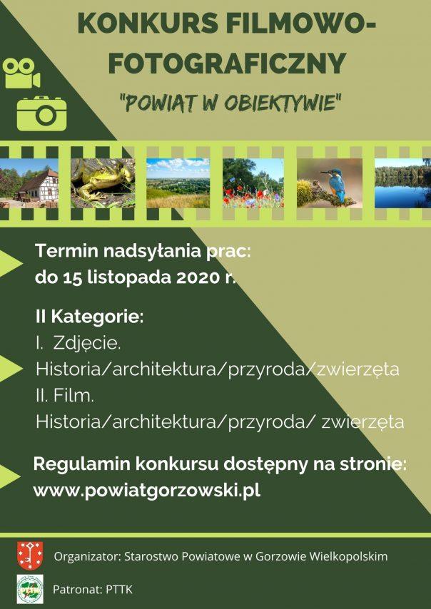 """Plakat konkursu filmowo-fotograficzny """"Powiat w obiketywie"""""""