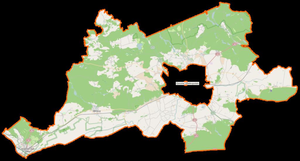 mapa powiatu gorzowskiego