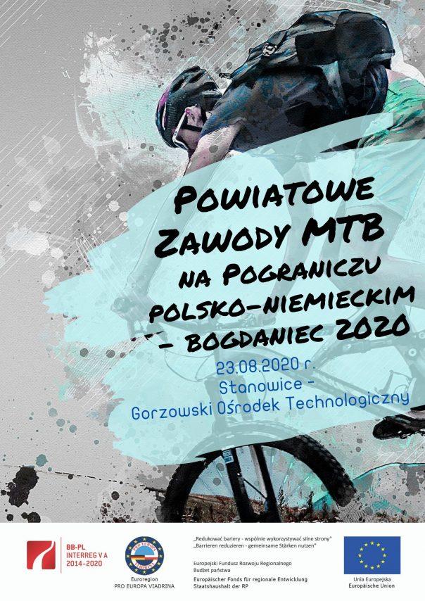 Plakat Powiatowe Zawody MTB na Pograniczu Polsko-Niemieckim-Bogdaniec 2020.